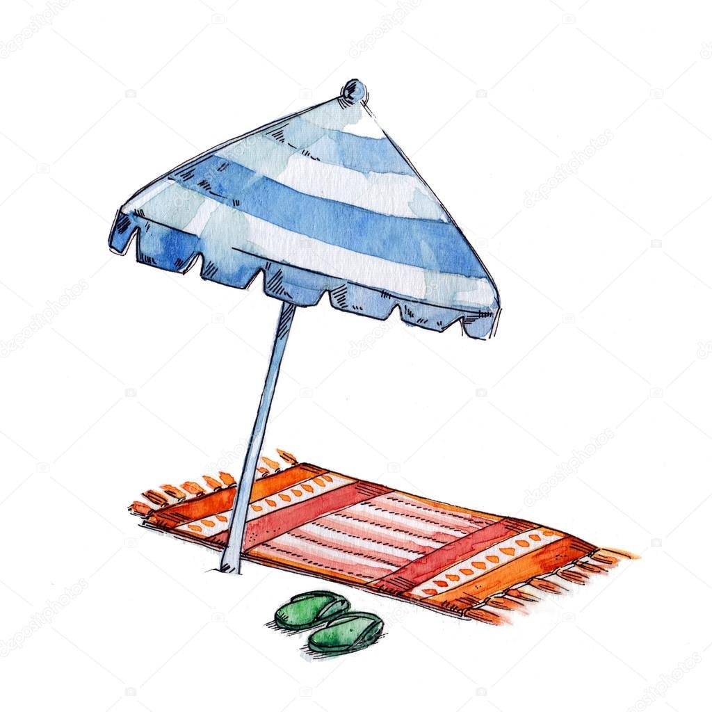 Dessin parasol aquarelle t isol sur fond blanc - Dessin parasol ...