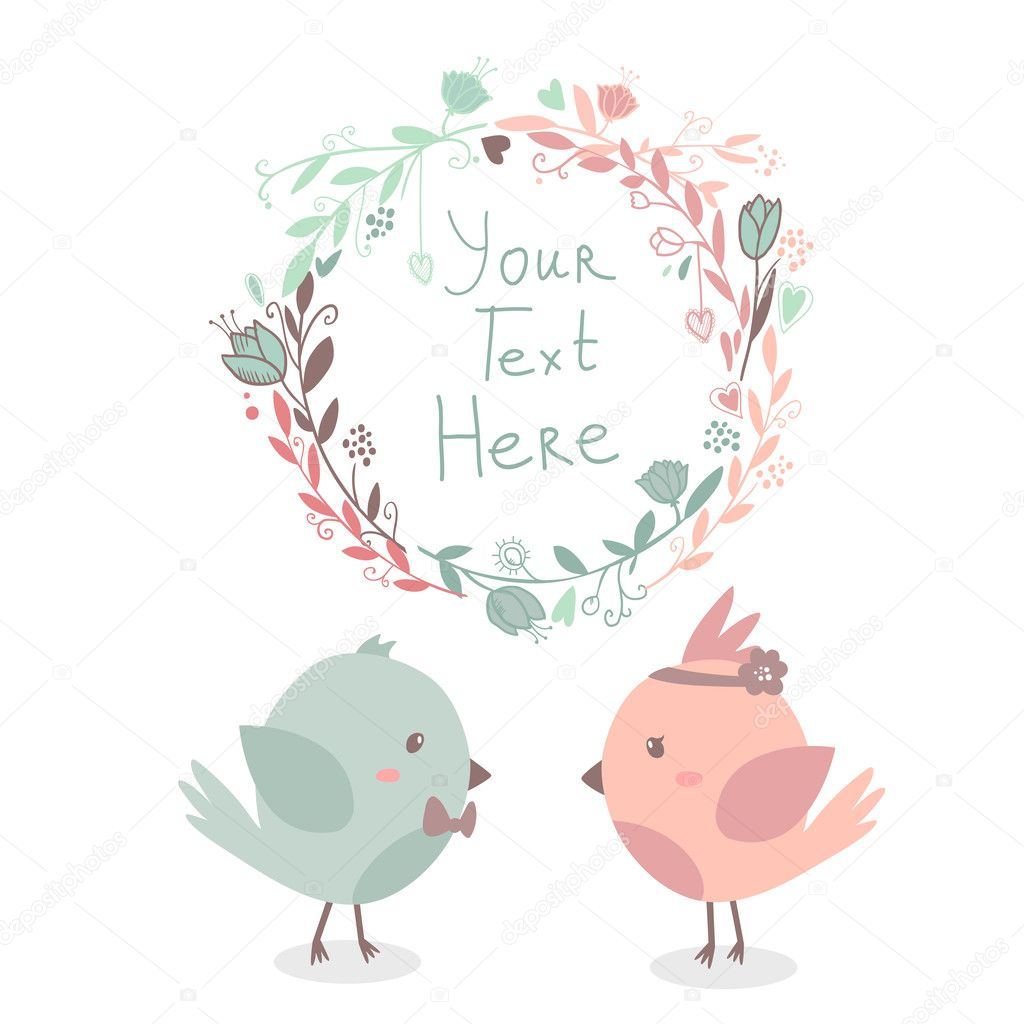 Beautiful vector cute greeting card with floral frame and birds in love together.