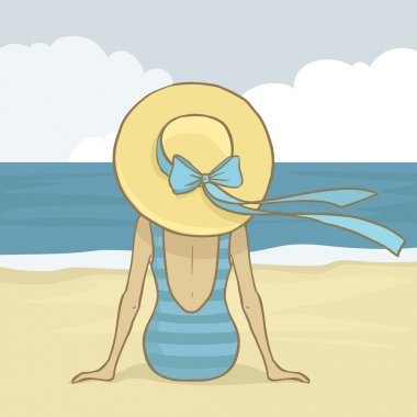 Vector romantic girl in blue swimsuit and hat sitting on the beach sand and looking to the sea. Summer background