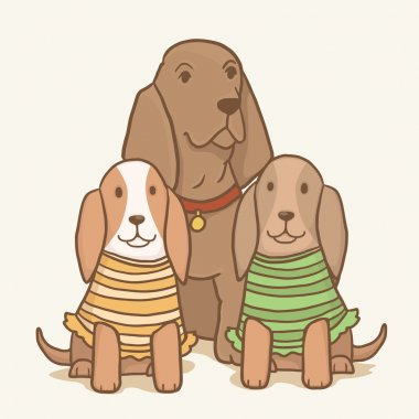 Vector Basset hound dogs family
