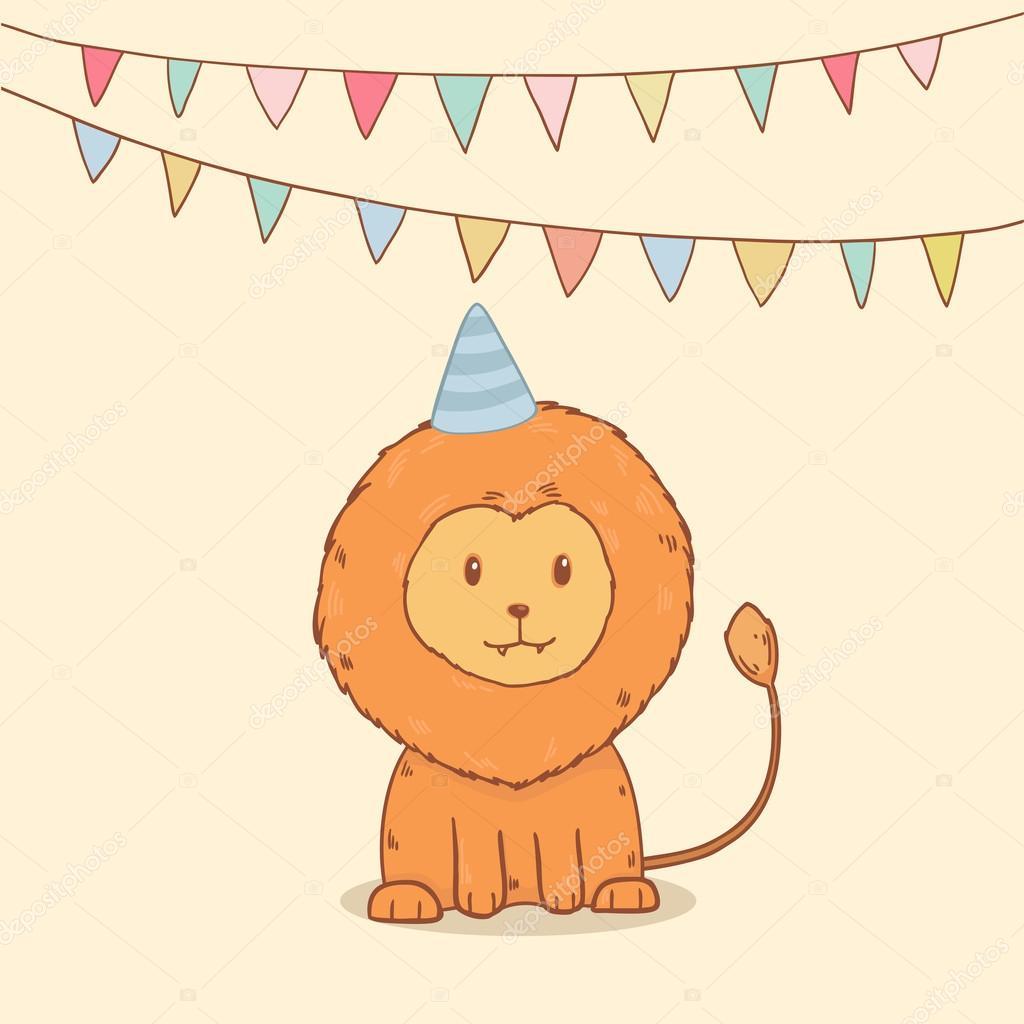 hübsch Gruß Geburtstagskarte mit Partei Fahnen und Löwe