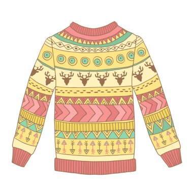 Vector cute cozy sweater with abstract ornaments, deer and arrows