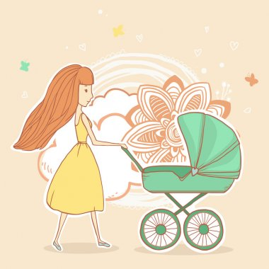 Young mother pushing baby stroller on summer floral background. Vector illustration