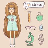 Fotografia ragazza carina con elementi di scienza. set vettoriale