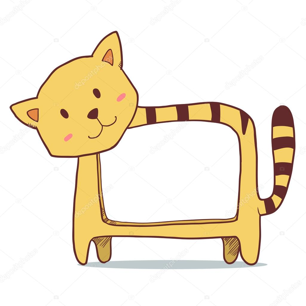 Cute yellow cat photo frame with space for your picture. Vector ...