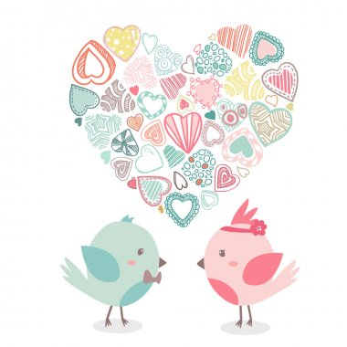 Lovely birds in love together with shape of heart. Vector illustration