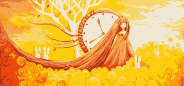 Illustration girl with clock, rabbits and field of yellow flowers. Vector illustration