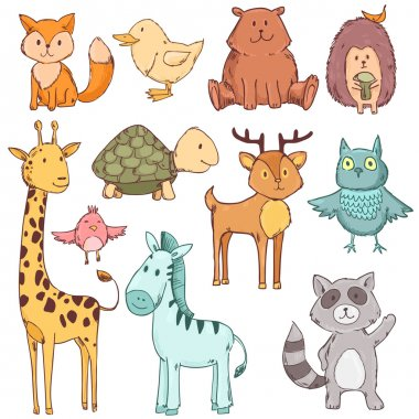 Cute baby animals set collection. Vector illustration isolated on white
