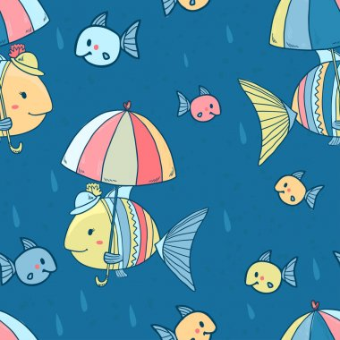 Seamless vector pattern.Mother fish with her kids under umbrella