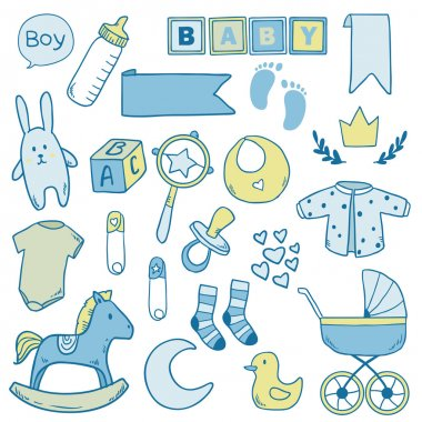 Newborn baby boy clip art with cute icons. Vector collection