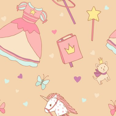 Seamless pattern for little princess with girl dress, unicorn toy, magic book, fairy wand and kitten stock vector