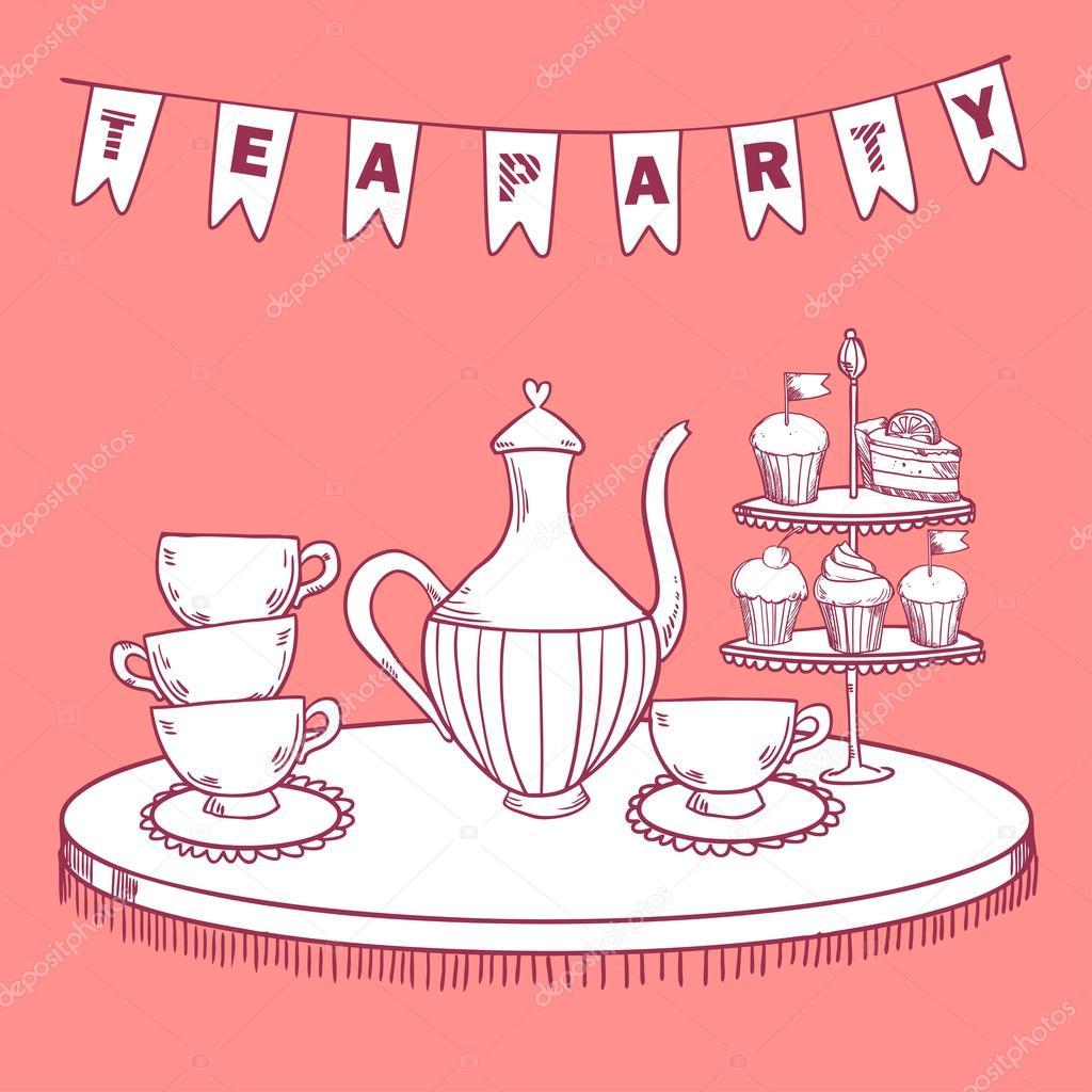 Vintage Tea Party Invitation Stock Vector