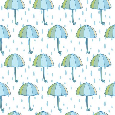 Pattern with umbrellas and raindrops