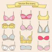 Sada různých ženských módní podprsenka ikon. Vektorové kolekce