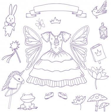 My little fairy princess set. Cute vector clip art