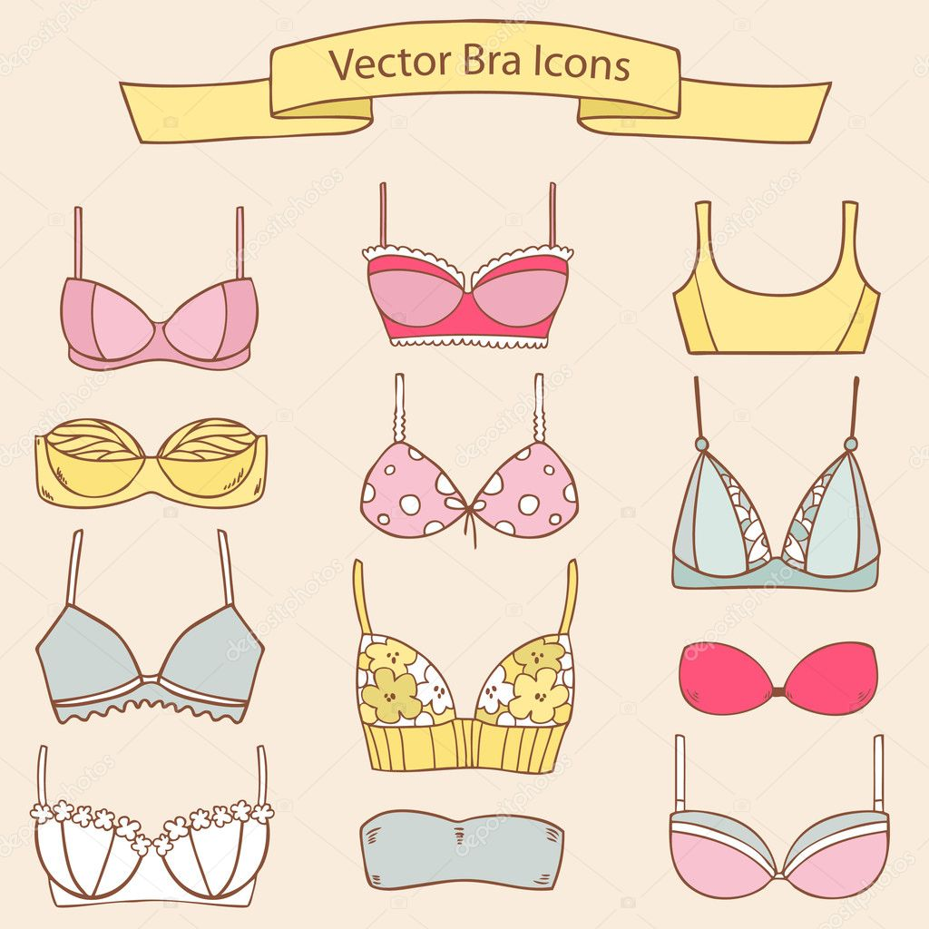 Set of different female fashion bra icons. Vector collection