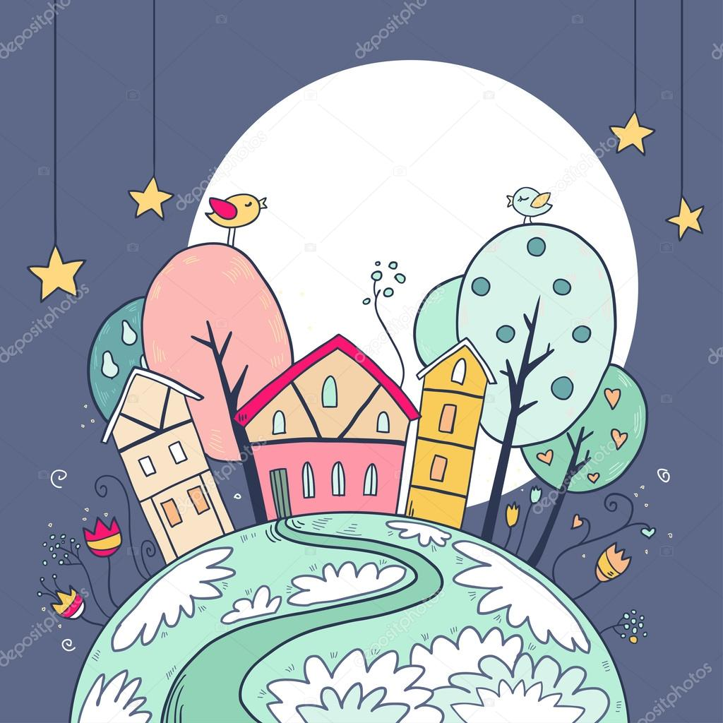 Night houses and moon with stars