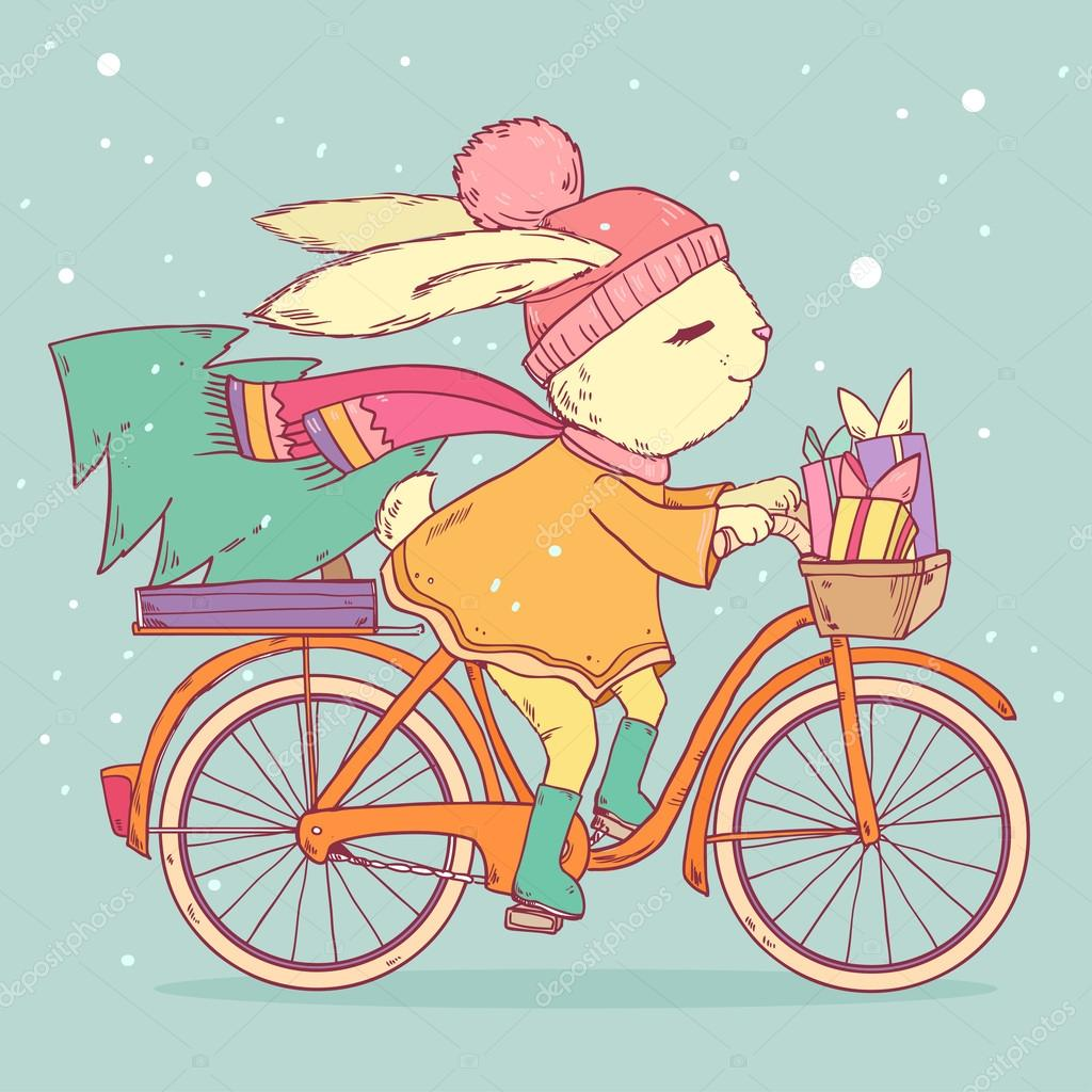 cute rabbit riding a bike with christmas tree and gifts vector