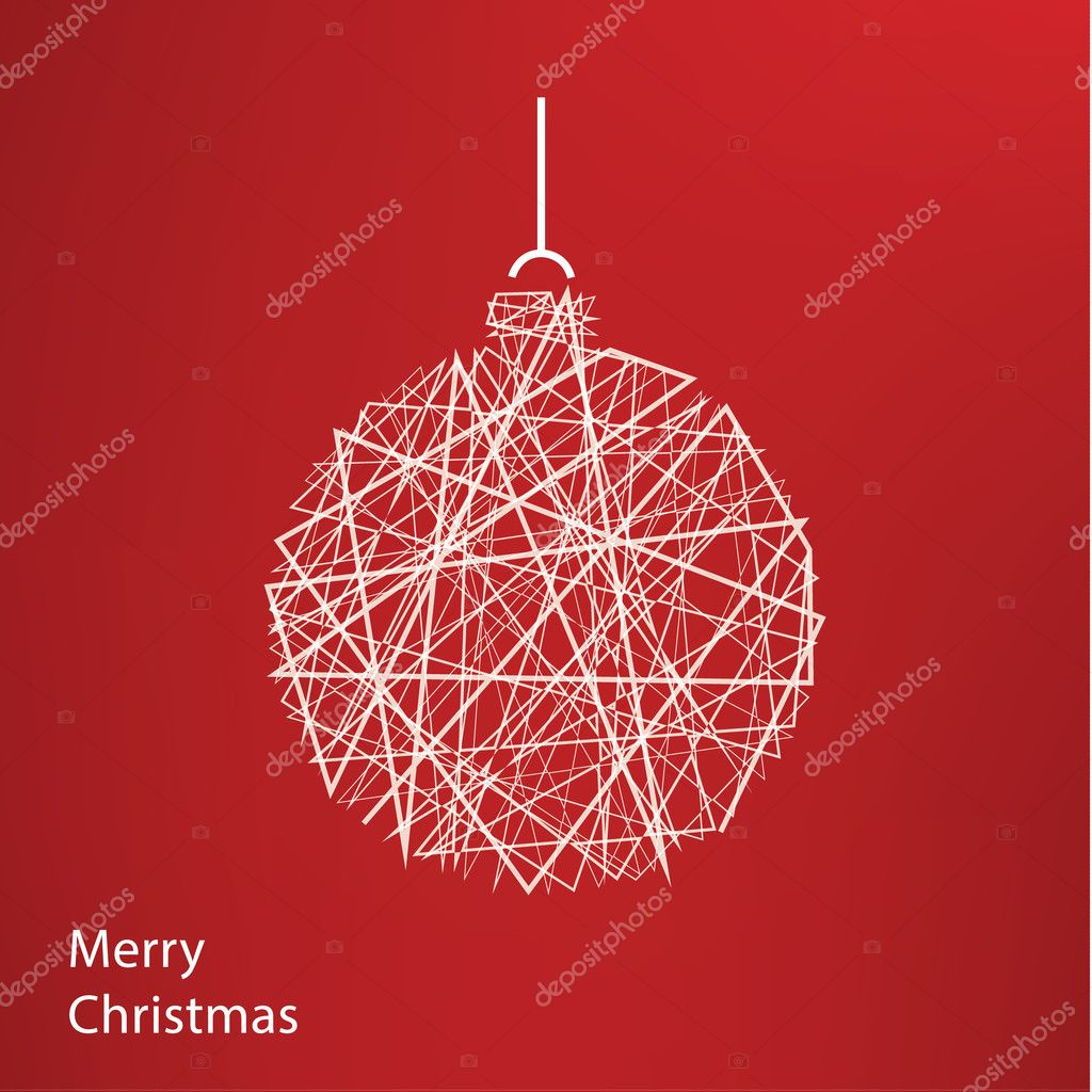 Vector outline Christmas tree. Modern Christmas background with ...