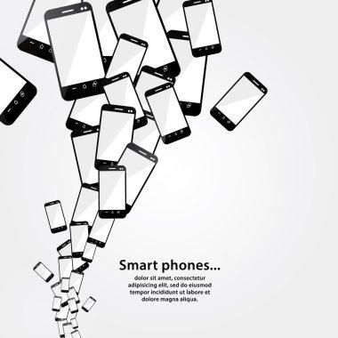 Vector smart phone flow. Modern technology. Heap of mobile phone