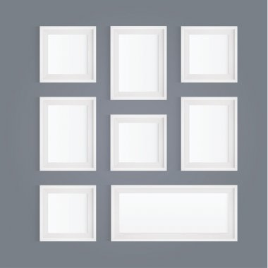 Vector frames. Pack of white picture frames - square composition.