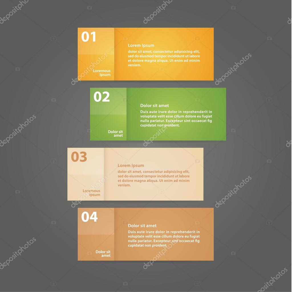 Vector - four solid cards with space for your content. Four step