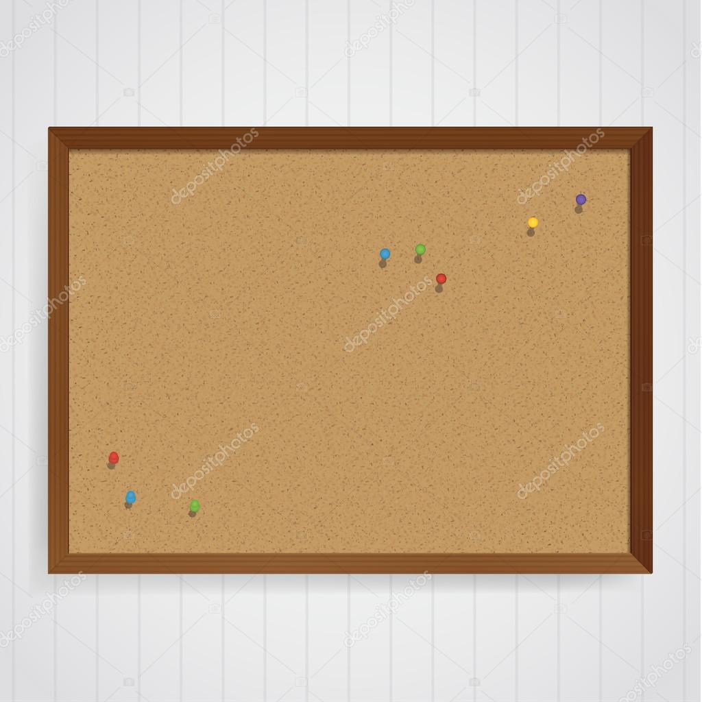 Vector corkboard template with colorfully pins on it. Message bo ...