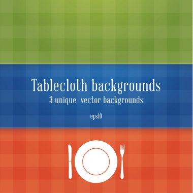 Three colorfully tablecloth backgrounds. Blue, green and red tab