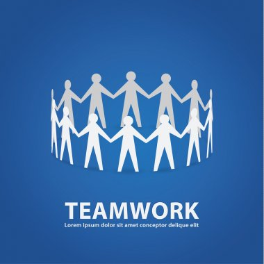 Vector teamwork illustration. Papermade people in cooperative wo