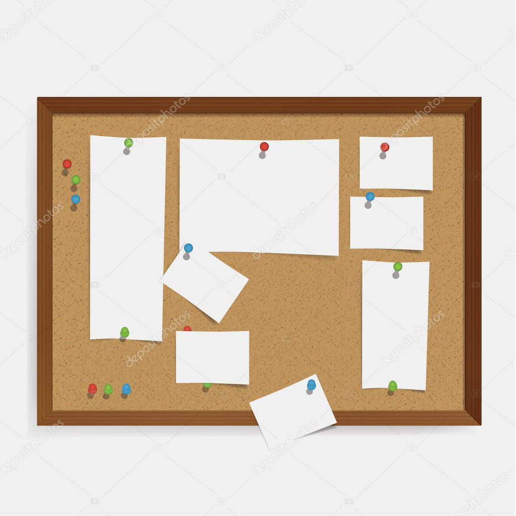 Vector corkboard template with colorfully pins and white papers ...