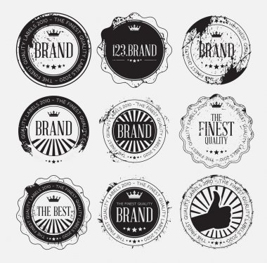 Set of retro vintage logo badges with grunge