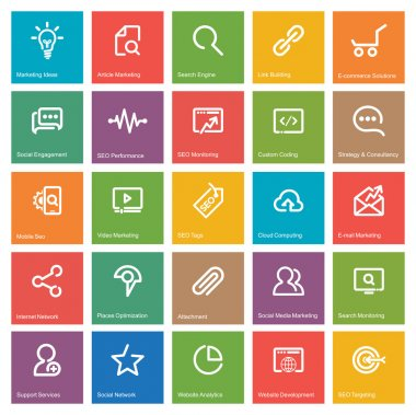 Outlines SEO Icon Set, white and colorful square with descripts text on white. Vector illustration clip art vector