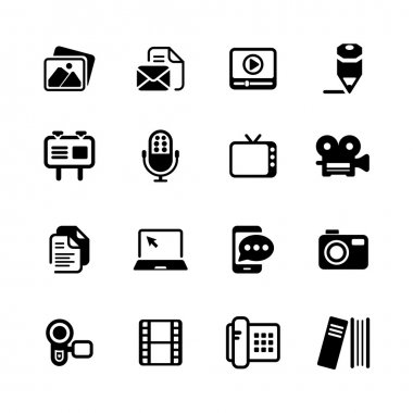 Multimedia Icons basic black series in illustration vector stock vector
