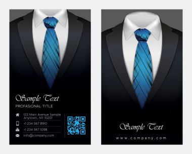 Suit and tuxedo business card, vector illustration stock vector