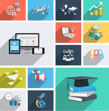 Vector collection of modern flat icons with long shadow