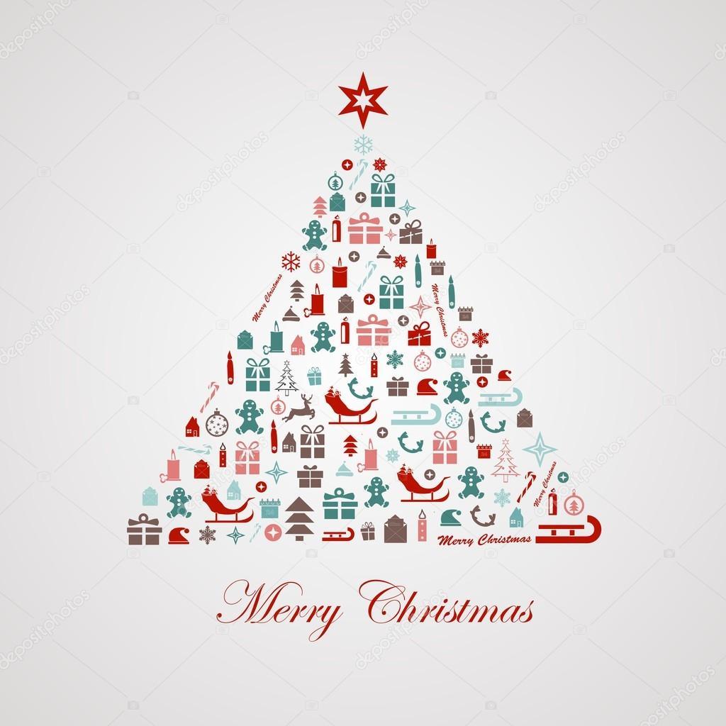 Albero Di Natale Stilizzato Disegno Vettoriali Stock