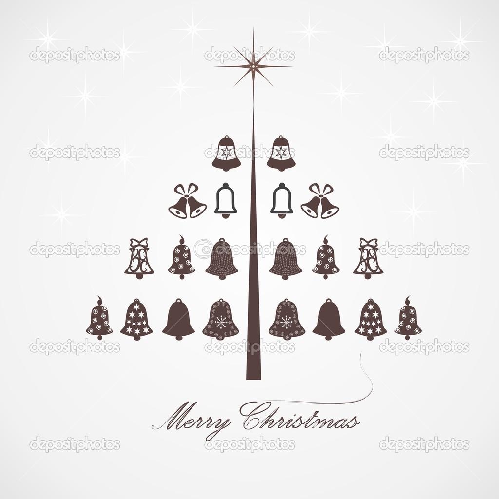 Desenho Estilizado De árvore De Natal Com Sinos