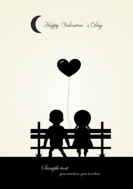 silhouette of boy and girl sitting on a bench, vector