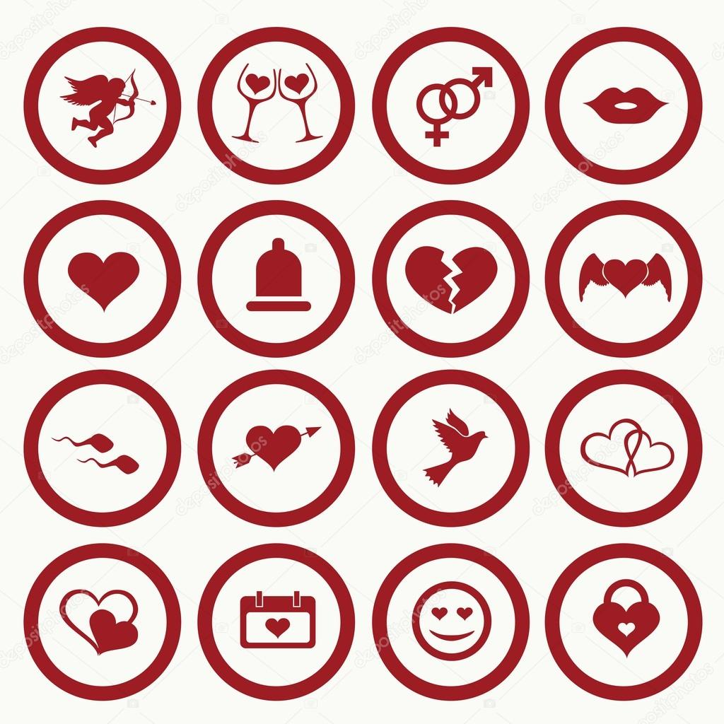 Set Valentine S Day Icons Love On The Internet Symbols Stock