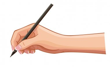 vector female hand with a pen wrote a message on a horizontal su