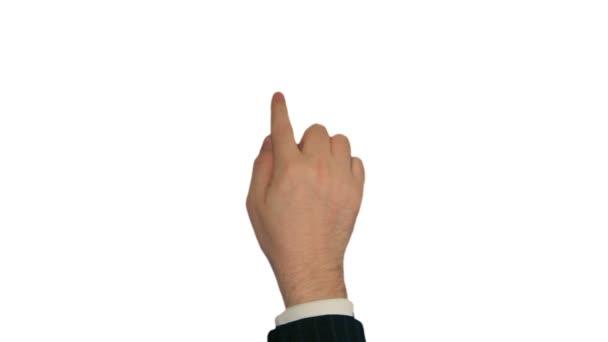 érintőképernyős gesztusok. férfi kézi öltöny