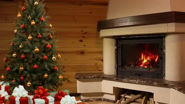 vánoční stromeček místnost. krb