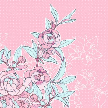 Vector floral background with peonies