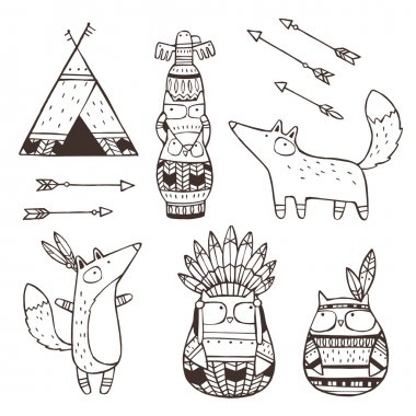 Set of vector hand drawn indian elements (funny animals, arrows, dream-catchers, totem)