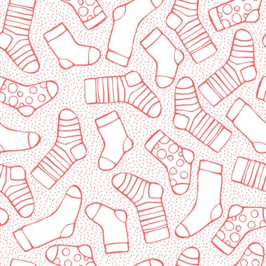 Seamless background with socks and snowflakes for winter and christmas theme