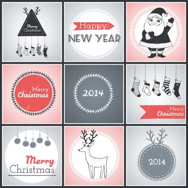 Christmas hipster posters set. Vector illustration