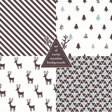 Set of Christmas hipster seamless patterns