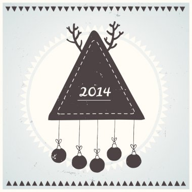 Poster Hipster New Year and Merry Christmas. Vector illustration.