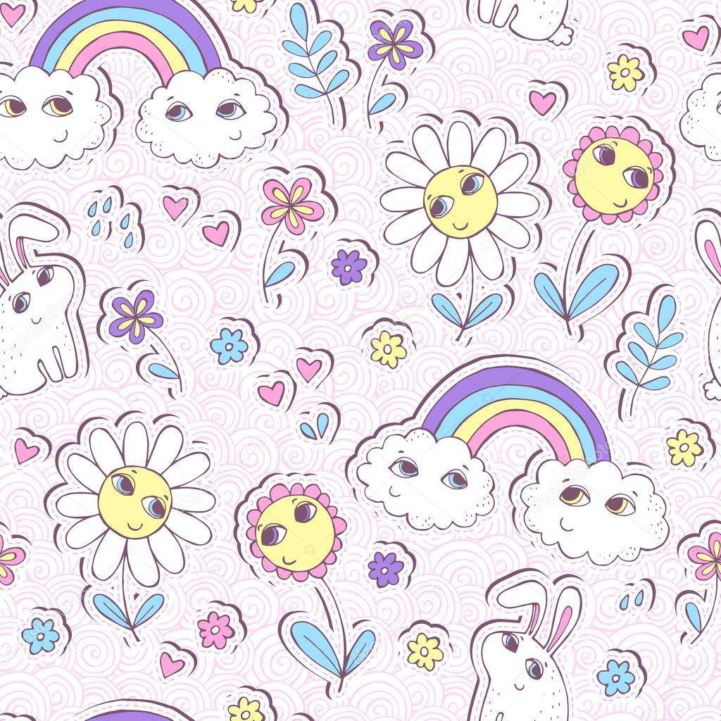 Милые бесшовный паттерн с облака, Радуга, цветы и кроликов ...