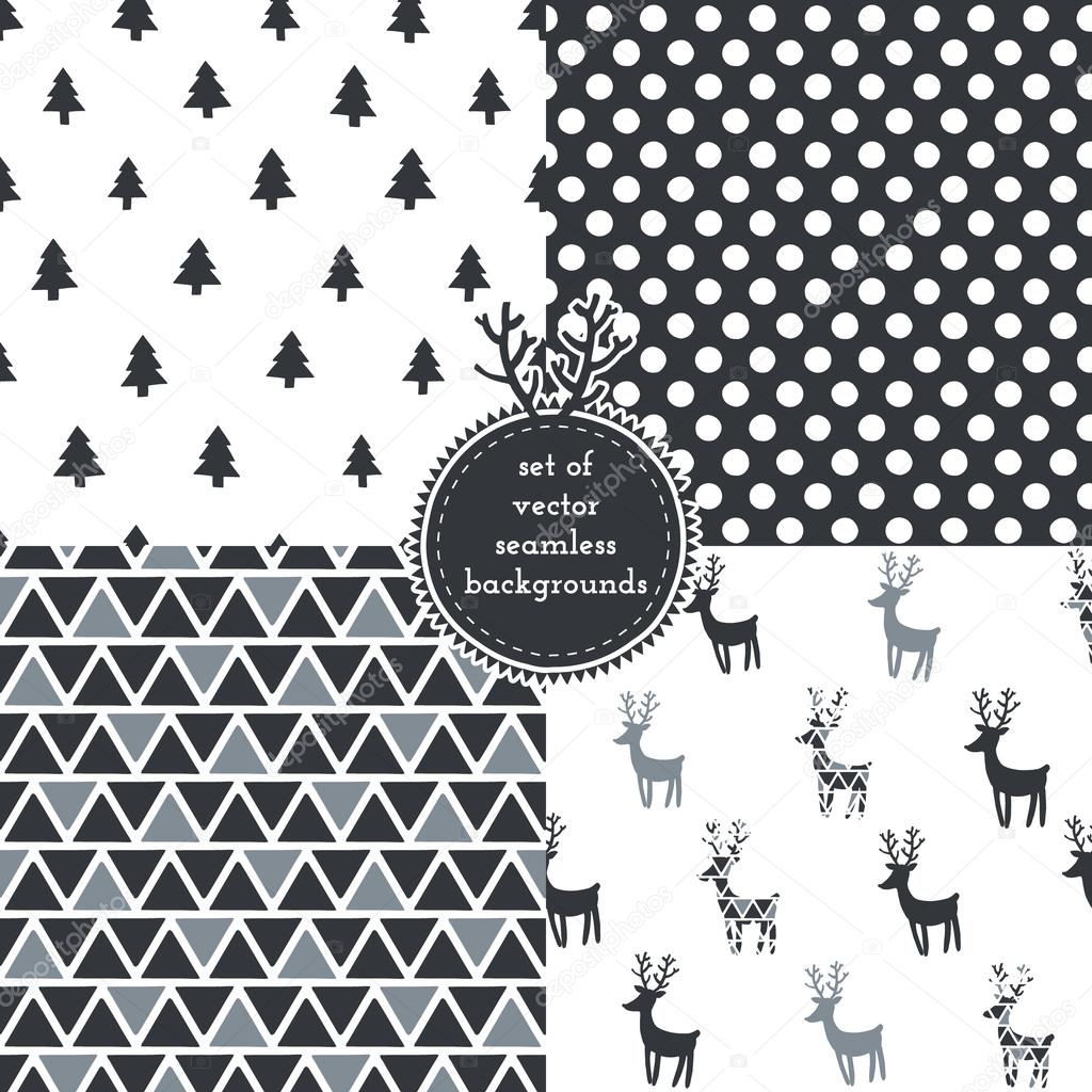 Set Of Christmas Hipster Seamless Patterns Stock Vector